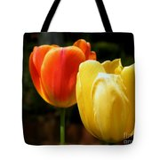 Pair Of Red And Yellow Tulips Tote Bag