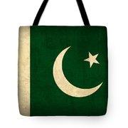 Pakistan Flag Vintage Distressed Finish Tote Bag by Design Turnpike