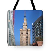 Palace Of Culture And Science In Warsaw Tote Bag by Artur Bogacki