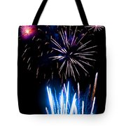 Pale Blue And Red Fireworks Tote Bag