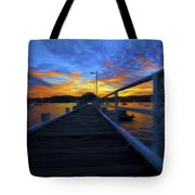 Palm Beach Wharf At Sunset Tote Bag