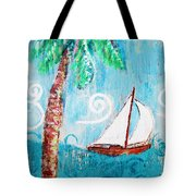 Palm Tree And Sailboat By Jan Marvin Tote Bag