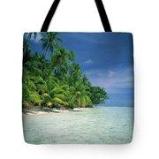 Palm Tree Lined Beach Papua New Guinea Tote Bag