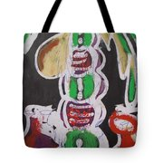 Pen And Drawing Batik Palm Tree With Keg Of Palm Wine. Tote Bag