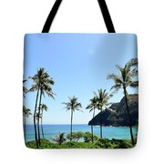 Palm Trees Along The Coast Of Waimanalo Tote Bag