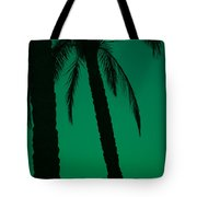 Palm Trees And Emerald Sky. Tote Bag