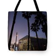 Palm Trees And Hp Pavilion San Jose At Night Tote Bag