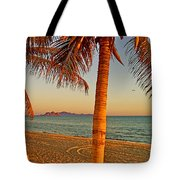 Palm Trees By A Restaurant On The Beach In Bahia Kino-sonora-mexico Tote Bag