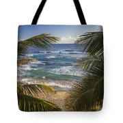 Palm Trees On Isabel Beach In Puerto Rico Tote Bag by Bryan Mullennix