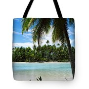 Palm Trees On The Beach, Rangiroa Tote Bag