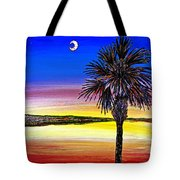 Palmetto Sunset Moon And Stars Tote Bag