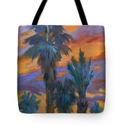 Palms And Sunset Tote Bag