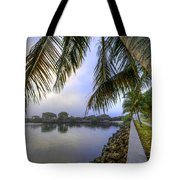 Palms Over The Waterway Tote Bag