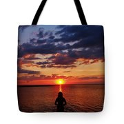 Pamlico Sound Hatteras Island Sunset 3 5/10 Tote Bag