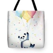 Panda Floating With Balloons Tote Bag by Olga Shvartsur