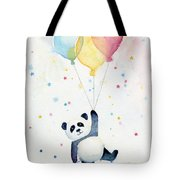 Panda Floating With Balloons Tote Bag