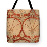 Panel Of Red Cut Velvet With Carnation Tote Bag
