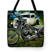 Panhead Harley And Ford Pickup Tote Bag