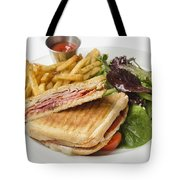 Panini With Ham Melted Cheese French Fries And Salad Tote Bag