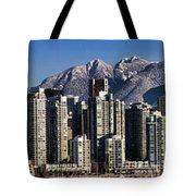 Pano Vancouver Snowy Skyline Tote Bag by David Smith