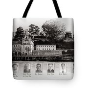Panorama Alcatraz Infamous Inmates Black And White Tote Bag