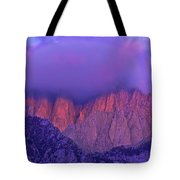 Panorama Alpenglow On Mount Whitney Eastern Sierras California Tote Bag