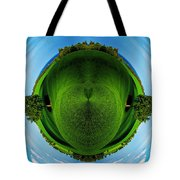 Panorama Earth Of A Green Meadow And Blue Sky Tote Bag