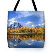 Panorama Fall Morning At Oxbow Bend Grand Tetons National Park Tote Bag