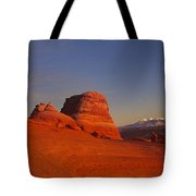 Panorama Moonrise Over Delicate Arch Arches National Park Utah Tote Bag