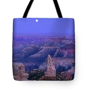 Panorama Moonrise Over Point Imperial Grand Canyon National Park Tote Bag