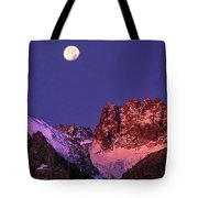 Panorama Moonset Middle Palisades Glacier Eastern Sierras California Tote Bag