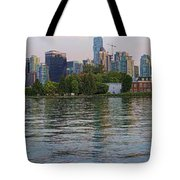 Panorama Of Coal Harbour And Vancouver Skyline At Dusk Tote Bag