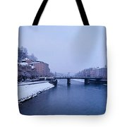 Panorama Of Salzburg In The Winter Tote Bag