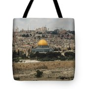 Panorama Of The Temple Mount Including Al-aqsa Mosque And Dome Tote Bag