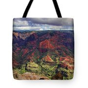 Panorama Of Waimea Canyon Hawaii Tote Bag by David Smith