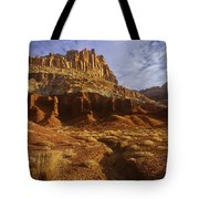 Panorama The Castle On A Cloudy Morning Capitol Reef National Park Tote Bag