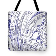 Panoramic Grunge Etching Royal Blue Color Tote Bag