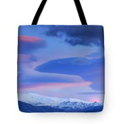 Panoramic Lenticular Clouds Over Sierra Nevada National Park Tote Bag