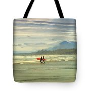 Panoramic Of Surfers On Long Beach, Bc Tote Bag