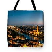 Panoramic Of Verona At Dusk Tote Bag