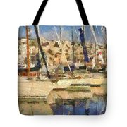 Panoramic Painting Of Mikrolimano Tote Bag