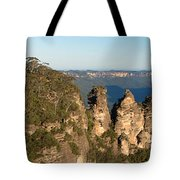 Panoramic Photo Of Blue Mountain And The Three Sisters Tote Bag