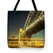 Panoramic Photo Of Sydney Harbour Bridge Night Scenery Tote Bag