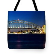 Panoramic Photo Of Sydney Night Scenery Tote Bag