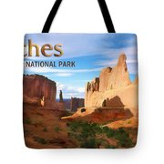 Panoramic View Of Arches National Park  Tote Bag
