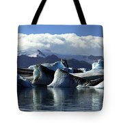 Panoramic View Of Icebergs And Glaciers Tote Bag