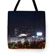 Panoramic View Of Kiev Railroad Station And Europe Square At Night Tote Bag