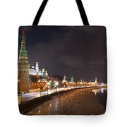 Panoramic View Of Moscow River And Moscow Kremlin Embankment Tote Bag