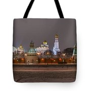 Panoramic View Of Moscow River And Moscow Kremlin In Wintertime Tote Bag