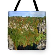 Panoramic View Of The Elbe Sandstone Mountains Tote Bag